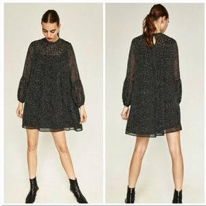 ZARA long sleeve black / white polka dot dress 402